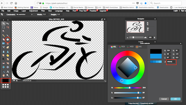 changing the color of a pixabay image using pilxr editor