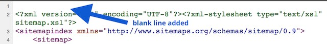 Sitemap XML Error- blank line added