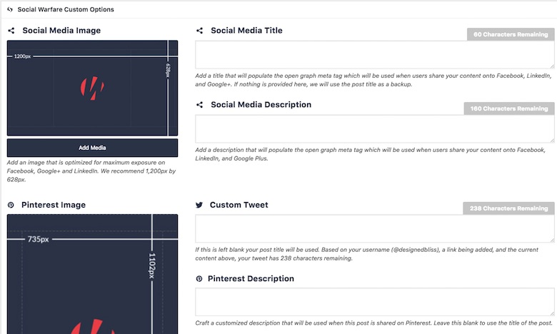 Social Warfare plugin for managing your WordPress blog posts on Facebook, Pinterest, and Twitter